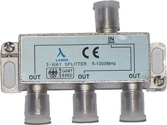 ClearView 3 Way F connector splitter 5-1000MHz