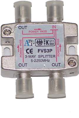 ClearView 3 Way F connector splitter 5-2250MHz
