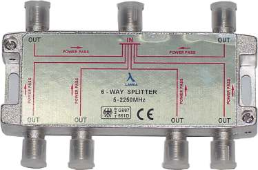 ClearView 6 Way F connector splitter 5-2250MHz-0